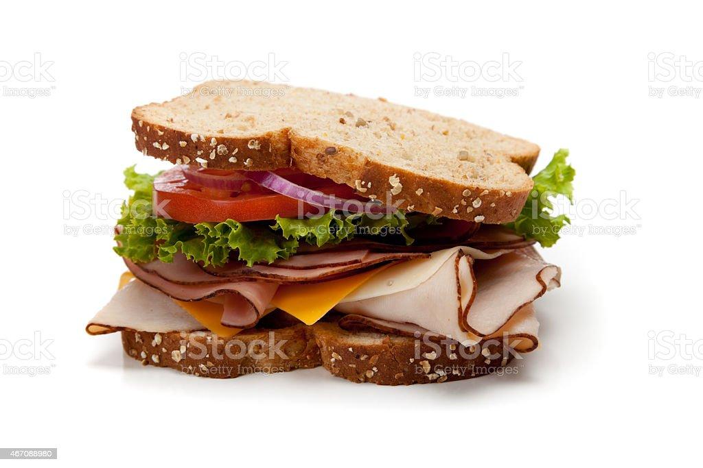 Turkey sandwich on whole-grain bread stock photo
