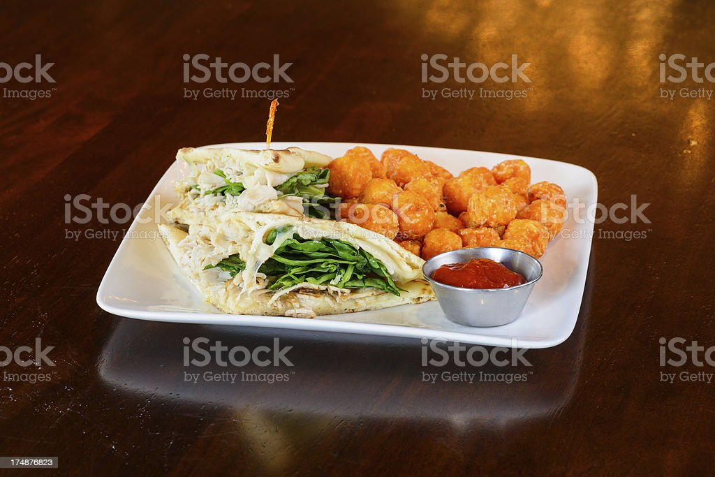 Turkey Sandwich with Melted Cheese and Spinach stock photo