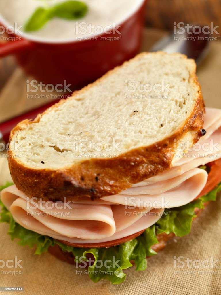 Turkey Sandwich with Mushroom Soup stock photo