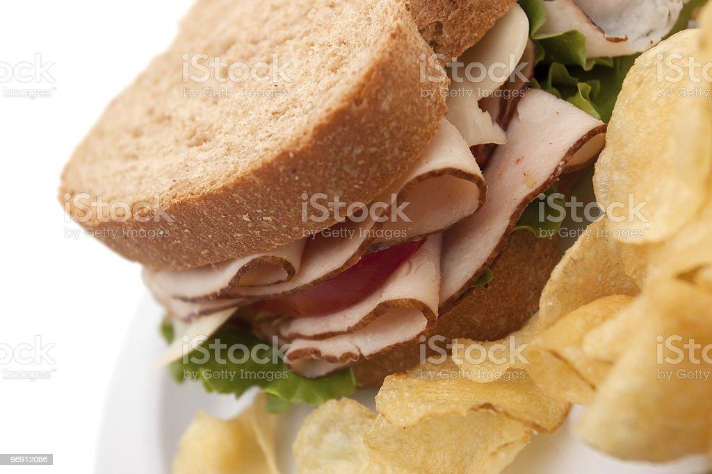 Turkey sandwich with potato chips royalty-free stock photo