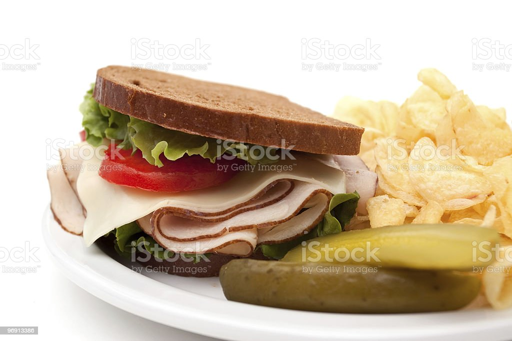 Turkey sandwich with potato chips royalty-free stock photo
