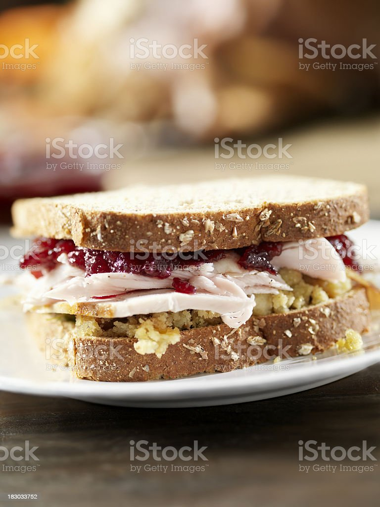 Turkey Sandwich with Stuffing and Cranberries stock photo