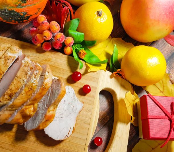 turkey thanksgiving day still life - pumpkin pie стоковые фото и изображения