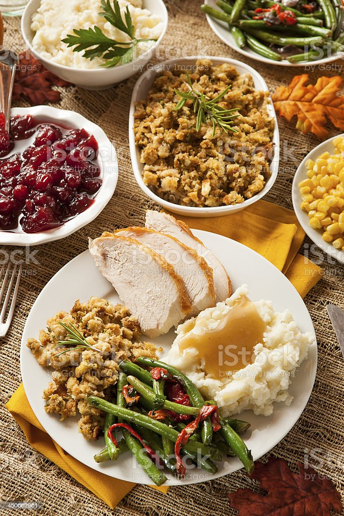 Turkey thanksgiving dinner plates served in linen table royalty-free stock photo & Turkey Thanksgiving Dinner Plates Served In Linen Table Stock Photo ...