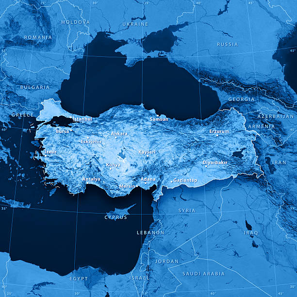 Turkey Topographic Map 3D rendering and image composing: Topographic Map of Turkey. Accurate longitude and latitude lines. High resolution available! High quality relief structure! environment stock pictures, royalty-free photos & images