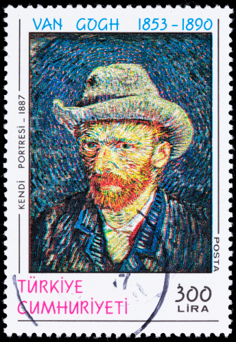 A 1990 Turkey postage stamp with a Van Gogh self-portrait from 1887.