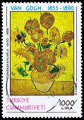 A 1990 Turkey postage stamp with a Van Gogh painting from 1888, Sunflowers in a Vase.