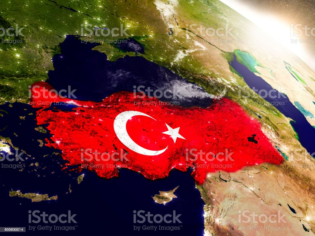 Turkey with flag in rising sun stock photo