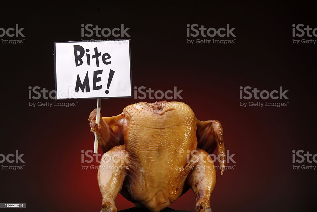 Turkey with Sign - Bite Me stock photo