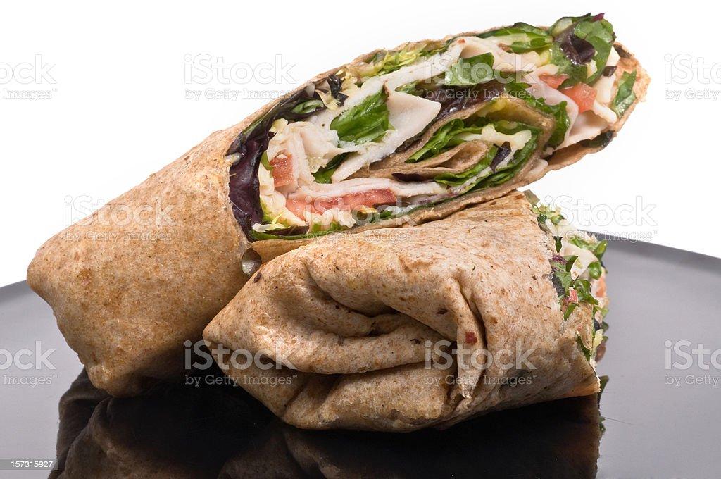 Turkey wrap sandwich stock photo