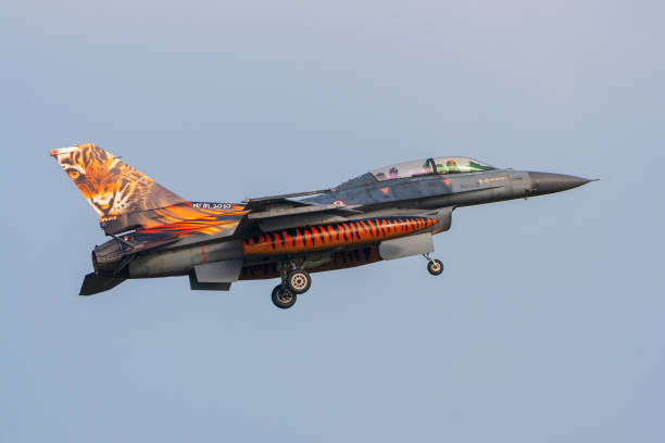 Turkish Air Force F-16 fighter jet Turkish Air Force F-16 fighter jet plane with a special painted tigermeet tail on final approach. Volkel, Netherlands - Oct 4, 2010. f 16 fighting falcon stock pictures, royalty-free photos & images