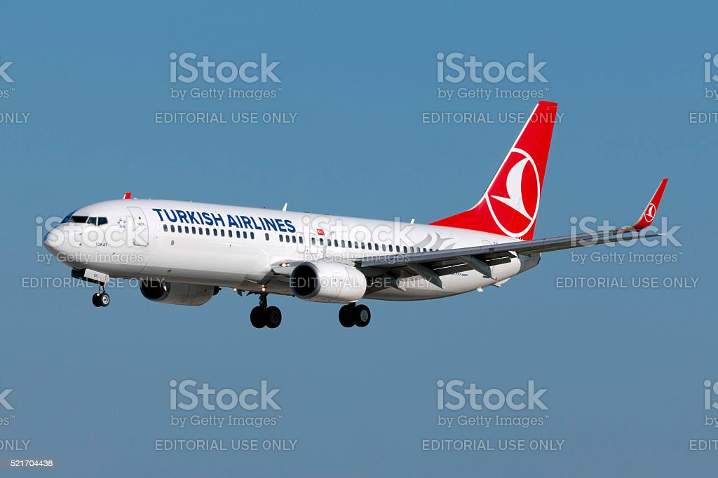 Turkish Airlines 737 arriving from Istanbul Luqa, Malta - December 12, 2014: Turkish Airlines Boeing 737-8F2 landing runway 31. Air Vehicle Stock Photo