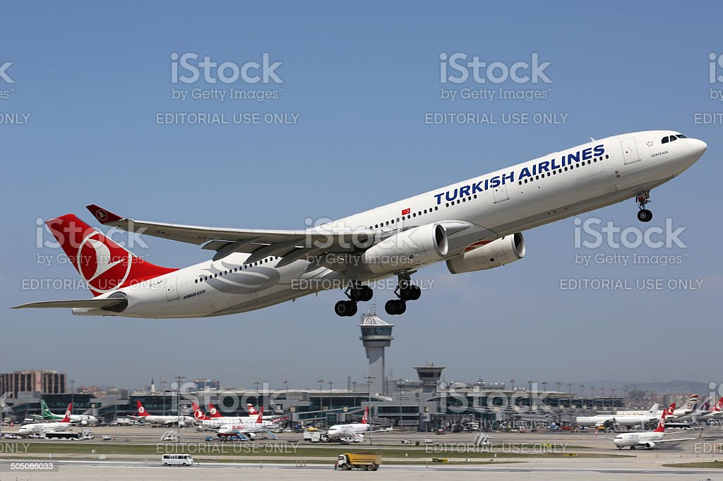 Turkish Airlines Airbus A330-300 Istanbul Airport stock photo