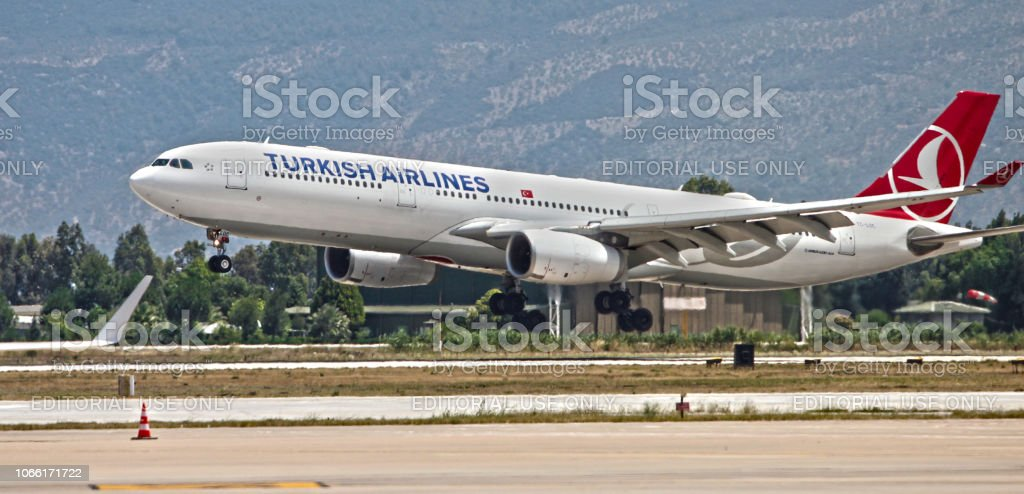 Turkish Airlines Airbus landing at Milas-Bodrum Airport stock photo