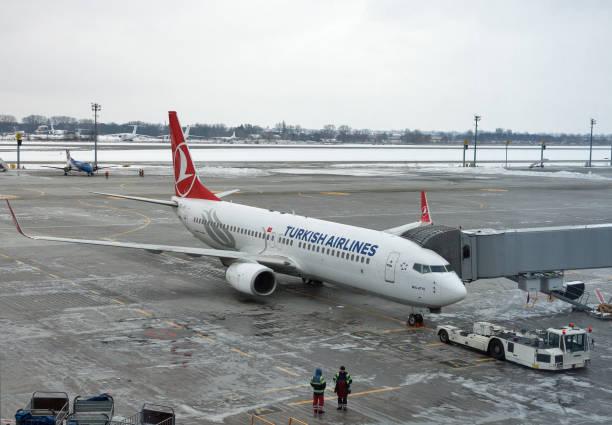 Turkish Airlines airplane in Boryspil Airport. Kiev, Ukraine. stock photo