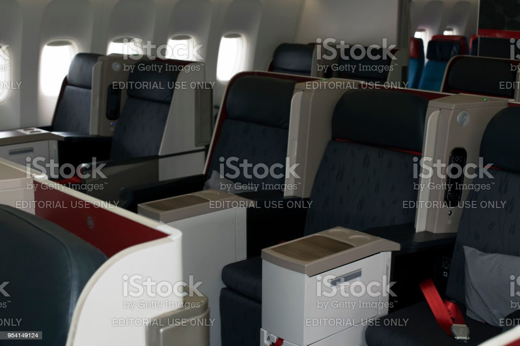 TC-LJA Turkish Airlines Boeing 777-300ER business class seats stock photo