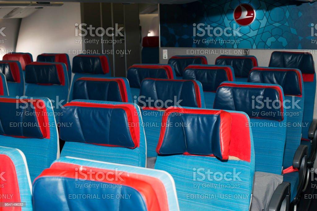 TC-LJA Turkish Airlines Boeing 777-300ER economy class seats stock photo