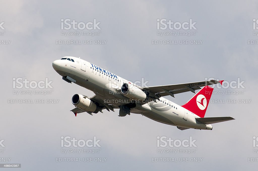 Turkish airlines taking off royalty-free stock photo