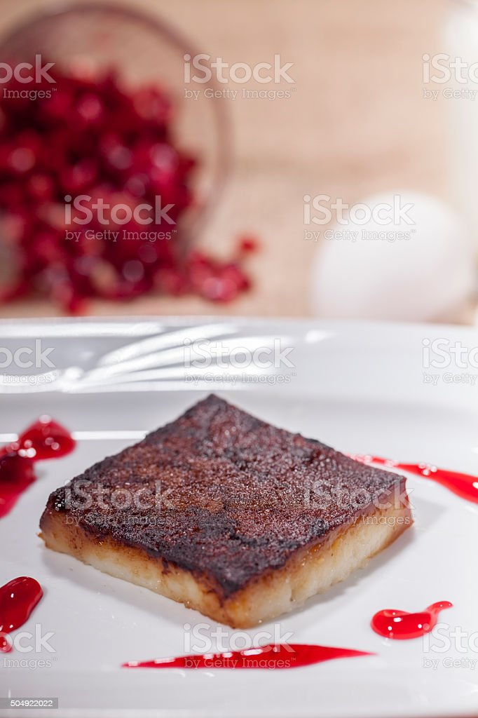 Turkish and Arabic Traditional Dessert Kazandibi Serve on a plate stock photo