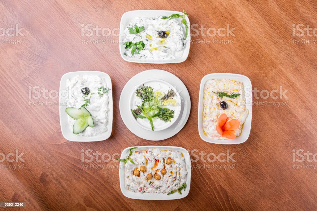 Turkish and Greek Yogurt Starter table stock photo