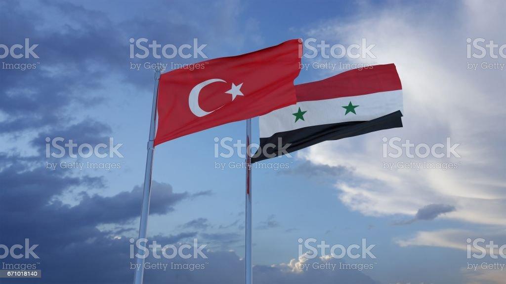 Banderas de Turquía y sirias - foto de stock