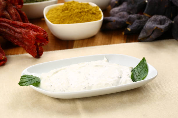 Turkish Appetizer Haydari with yogurt (Tzatziki) stock photo