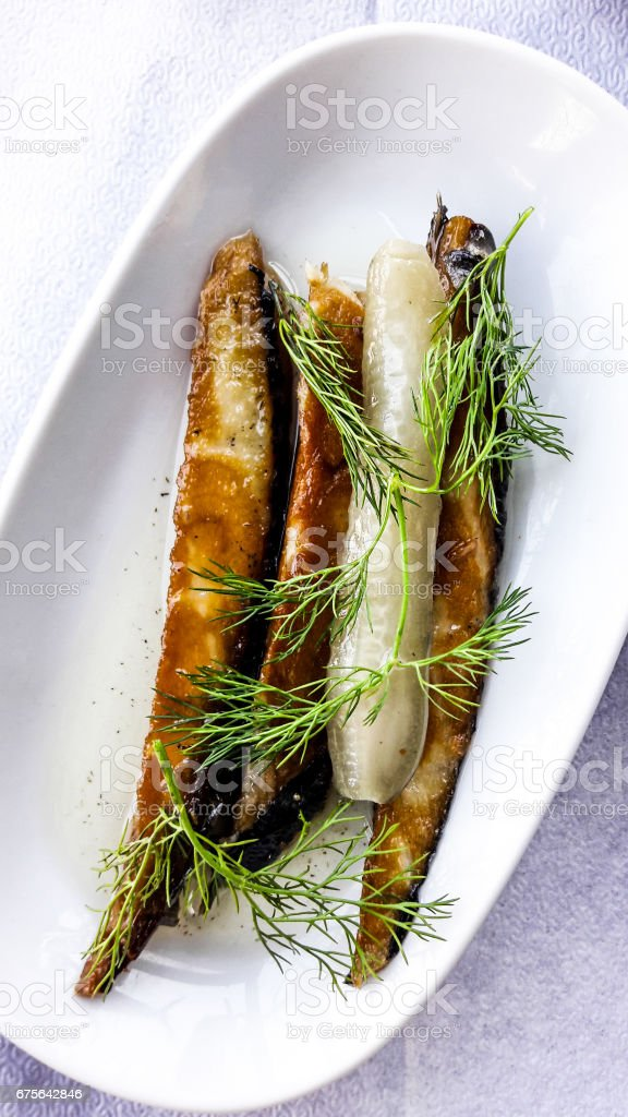 Turkish Appetizer Sardine with salt and dill. royalty-free stock photo