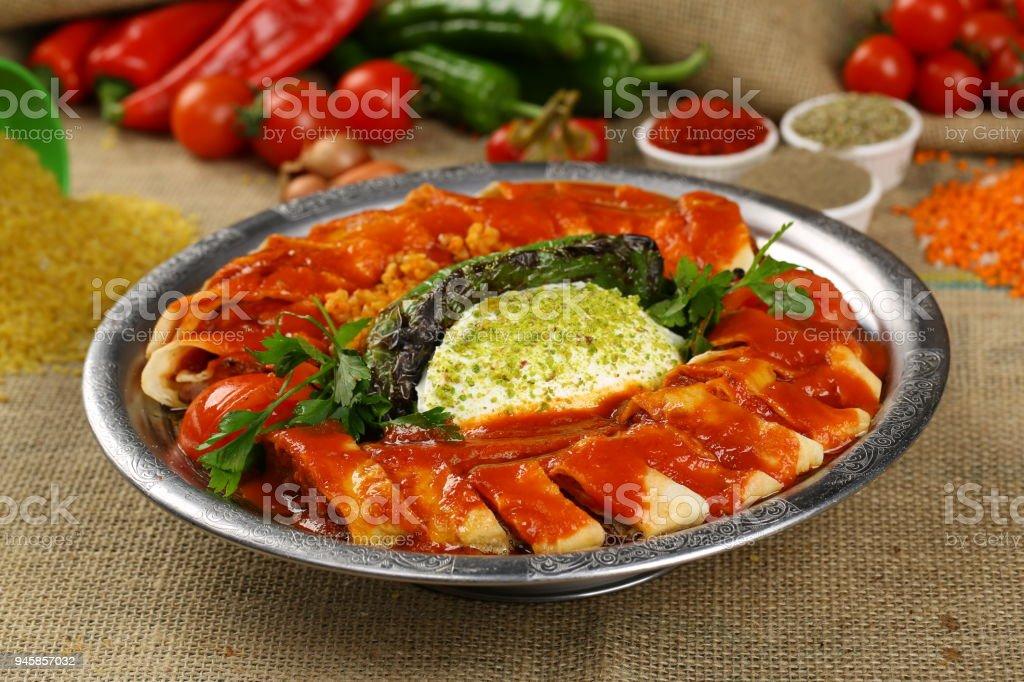 Turkish, Arabian Food Kebab - Beyti Kebap stock photo