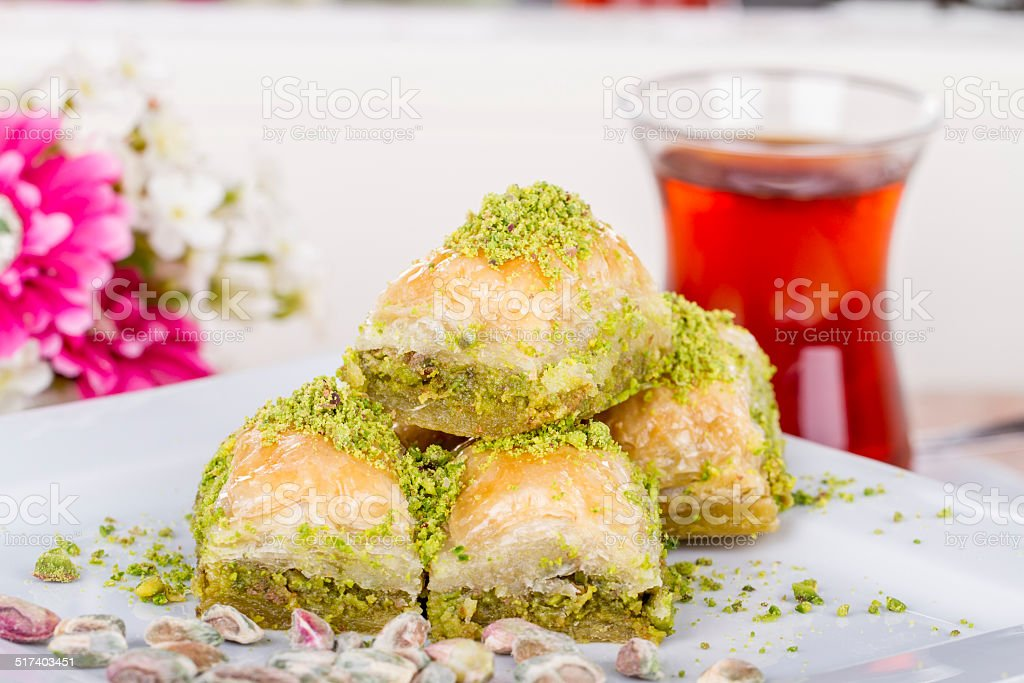 Turkish Arabic Dessert Baklava With Tea, Honey and Nuts stok fotoğrafı