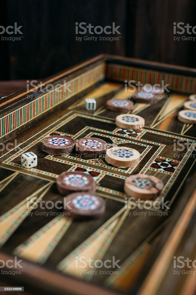 Turkish backgammon game stock photo