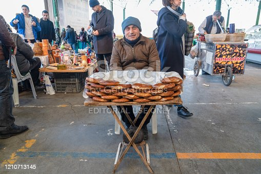 Ankara/Turkey- March 01 2020: Turkish bagel and roasted chestnut vendors on street