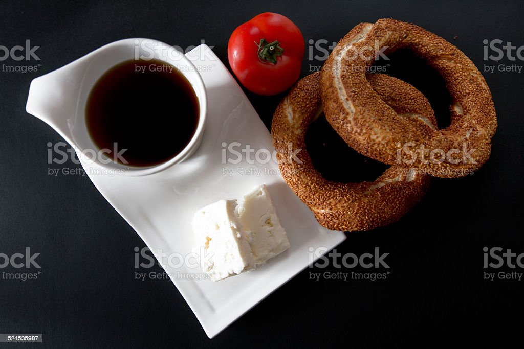 Turkish Bagel and Tea stock photo
