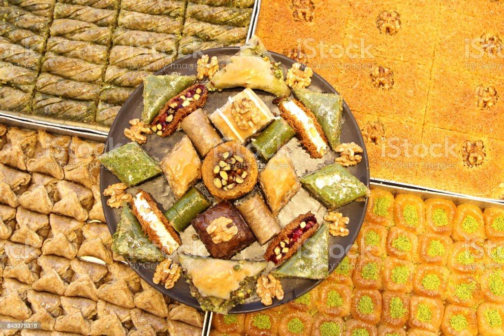 Turkish baklava and various sweets stock photo