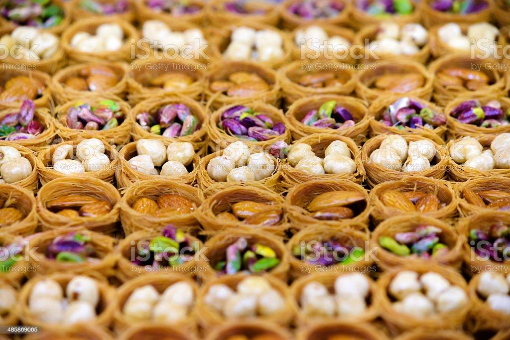 Turkish baklava assortment stock photo