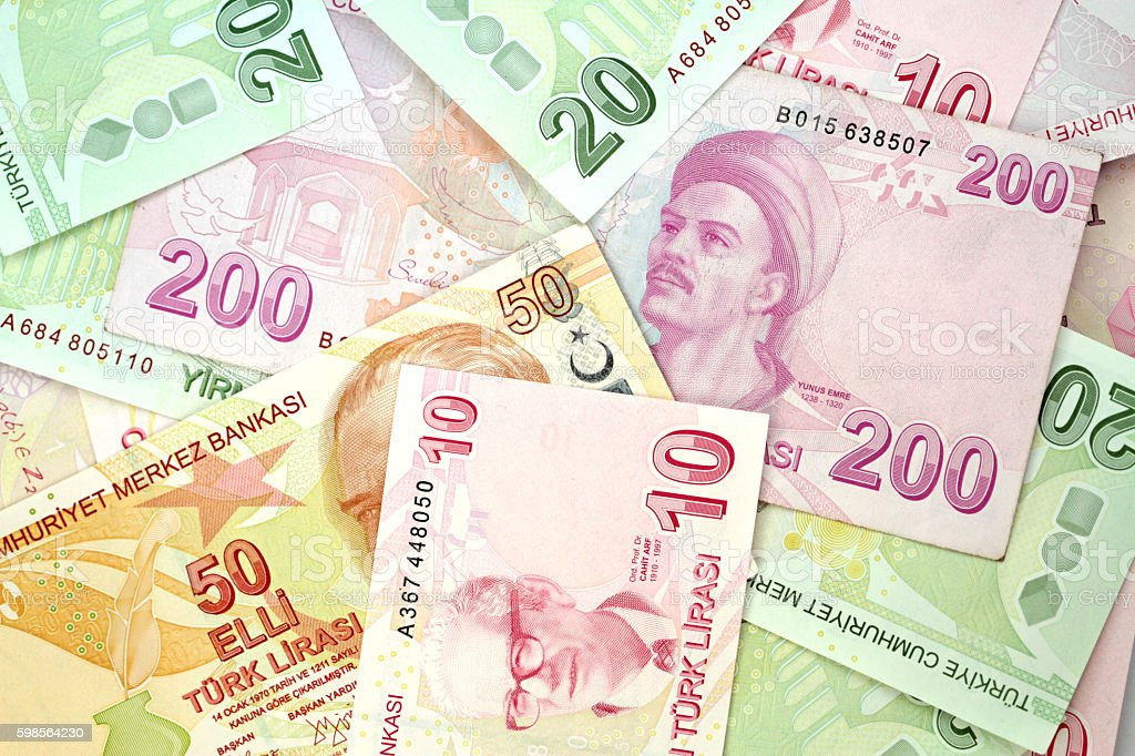 Turkish banknotes. Turkish Lira ( TL ). stock photo
