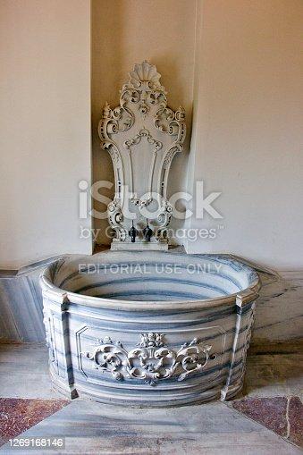 Kocaeli, Turkey - July 7, 2020: Old Turkish Bath brass faucet head in Ottoman pavilion made by ottomans view near kocaeli clock tower in kocaeli city turkey at summer.