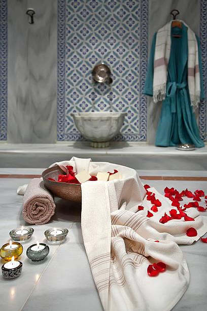 hammam - sauna textilien stock-fotos und bilder