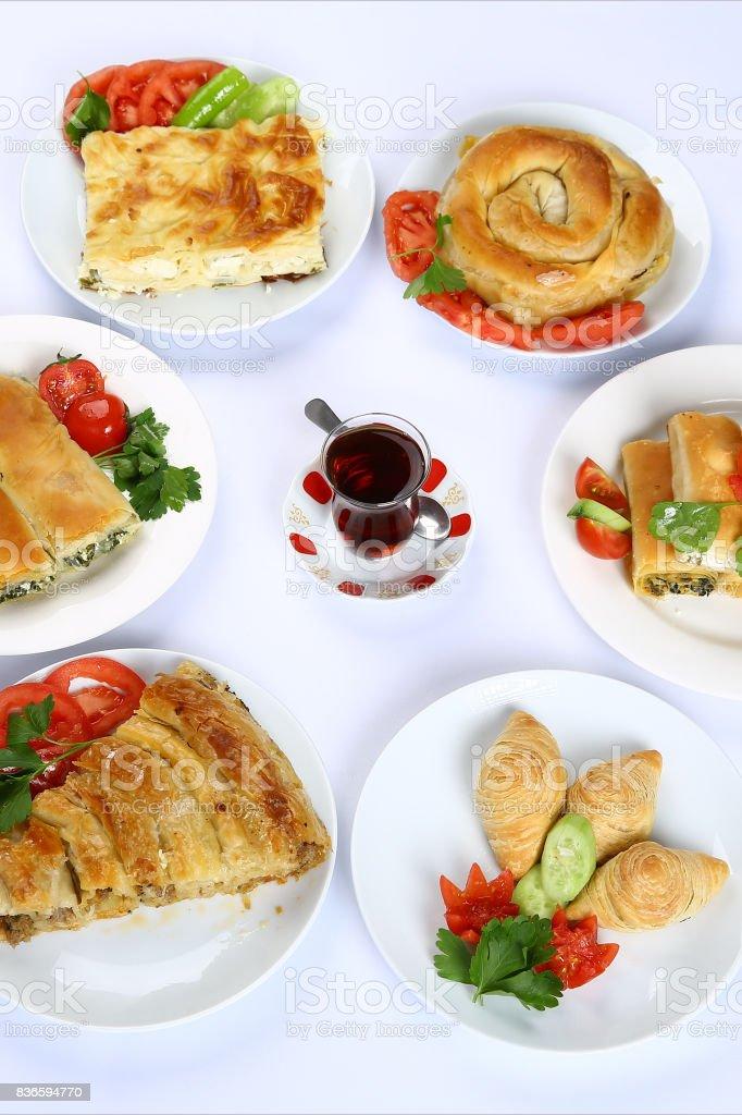 Turkish boreks and tea stock photo