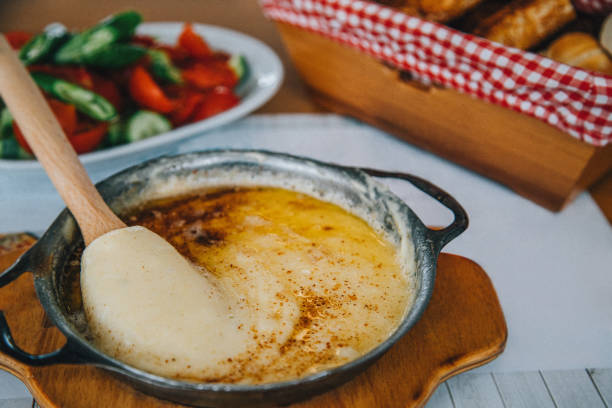 Turkish breakfast and fried cheese - Miscreation - Kuyma stock photo