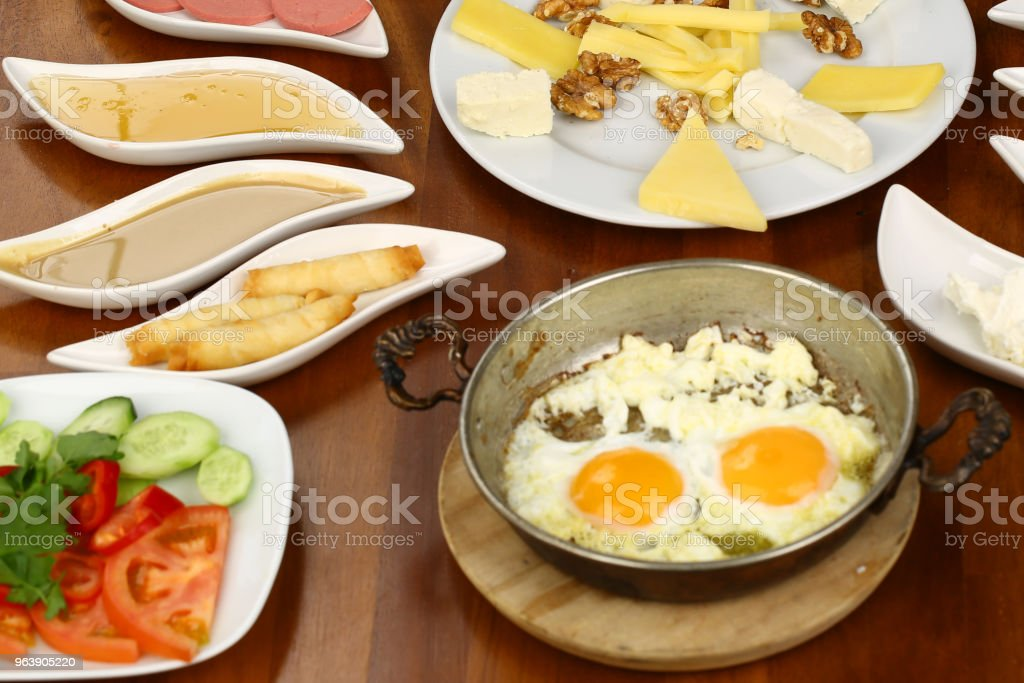 Turkish breakfast and fried egg - Royalty-free Appetizer Stock Photo