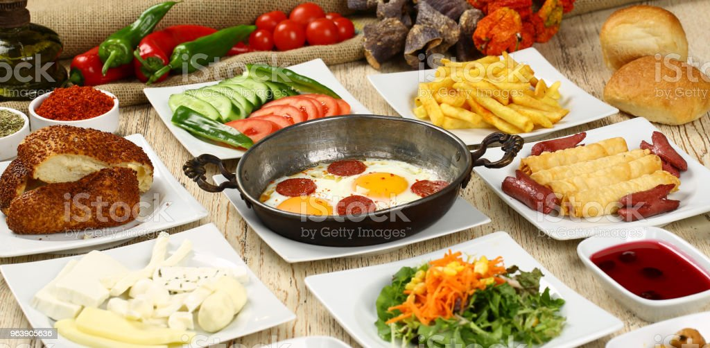 Turkish breakfast and sucuk with egg - Royalty-free Bagel Stock Photo