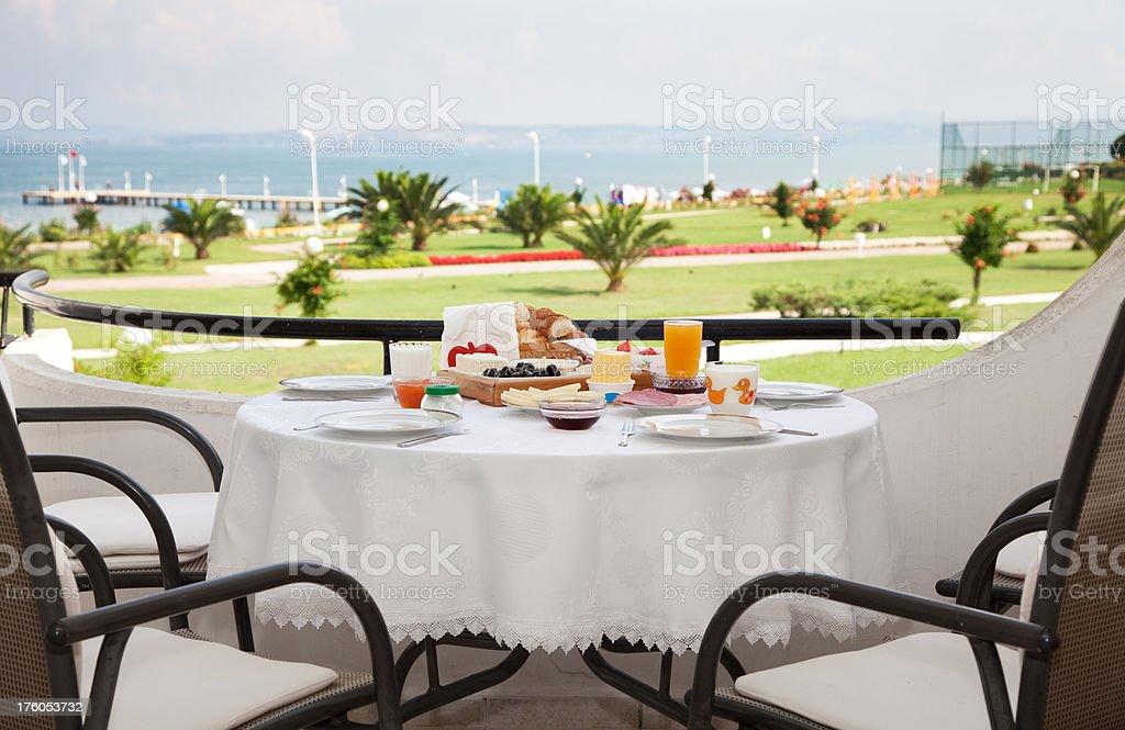 Turkish breakfast on table in balcony royalty-free stock photo