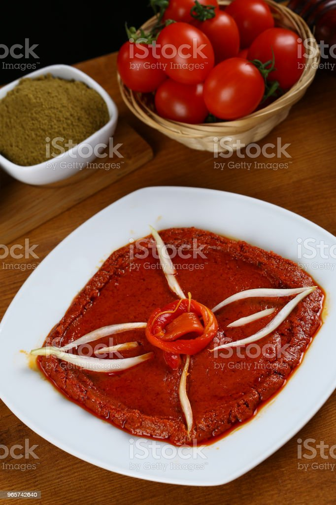 Turkish Breakfast tomato sauce, Acuka, Acika, Muhammara - Royalty-free Alho Foto de stock