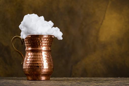 Turkish buttermilk  in a copper cup
