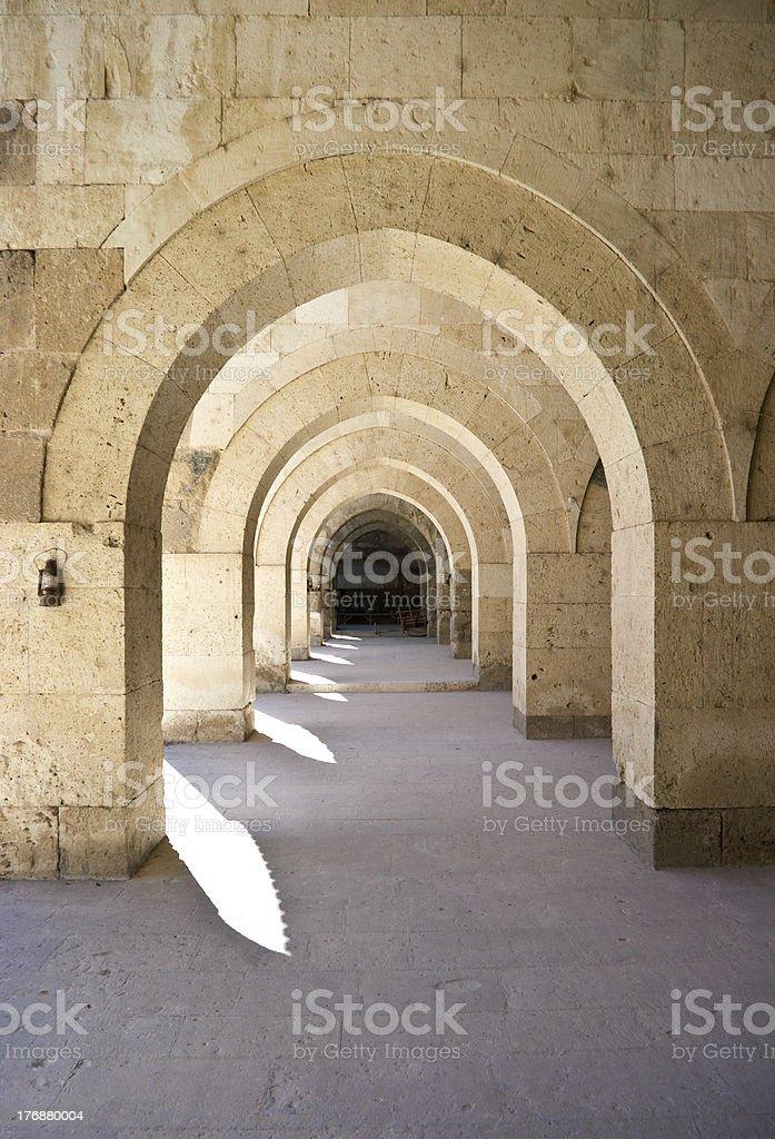 Turkish caravansary cloisters in Anatolia royalty-free stock photo
