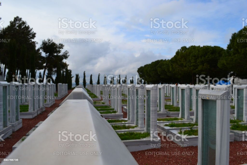 Turkish Cemetery, Battle of Gallipoli, at Çanakkale-Turkey stock photo