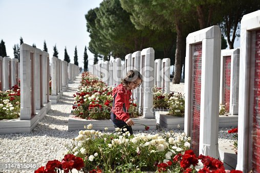 Canakkale, Turkey - April 28, 2019: Turkish cemetery for soldiers who death at from First World of War of the battle of Gallipoli in Canakkale, Turkey.