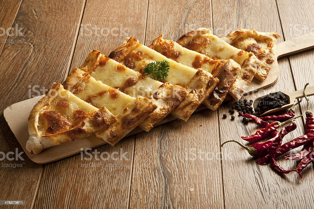 turkish cheese pide close up stock photo