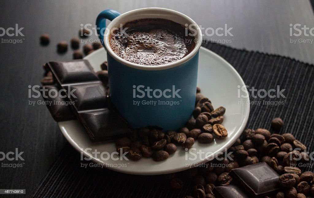 Turkish Coffee and chocolate bar in blue porcelain stock photo