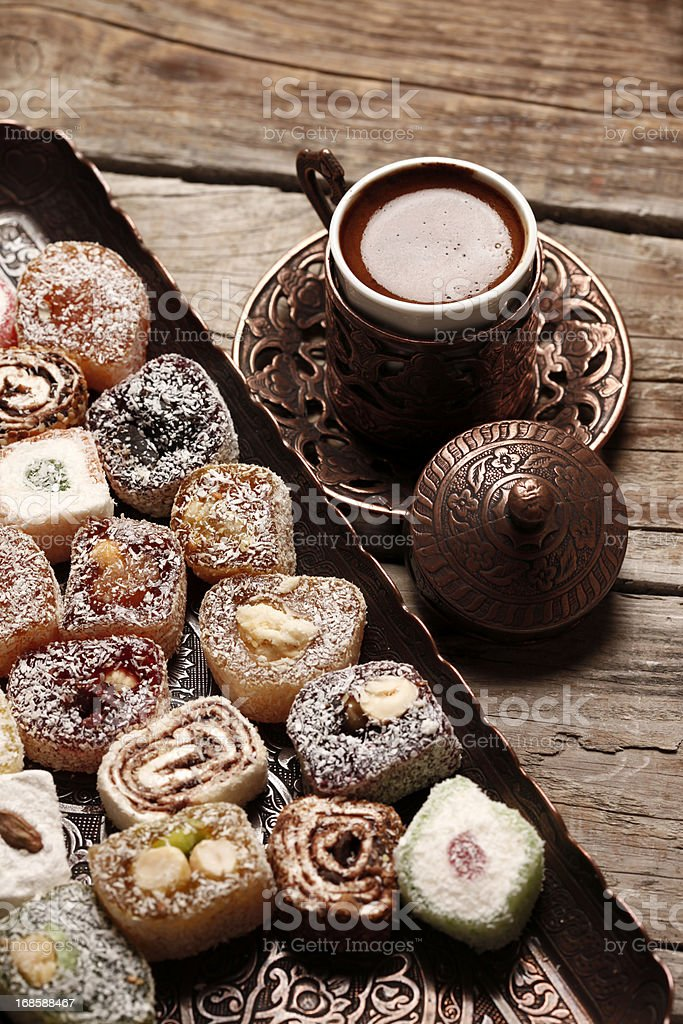 Turkish Coffee And Delight royalty-free stock photo
